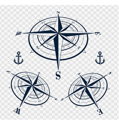 Set of compass roses or wind roses vector