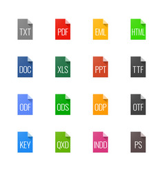 file type icons - texts fonts and page layout vector image