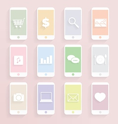 Mobile phon function icon set vector