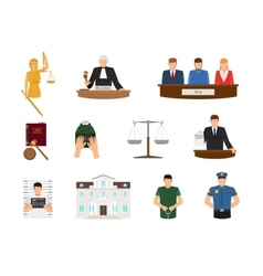 Law and justice flat icons vector