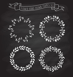 Hand drawn flower and floral wreaths in f vector