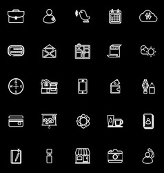 Mobile line icons on black background vector
