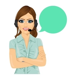 Attractive female customer support phone operator vector