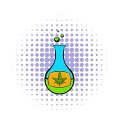 Chemical test tube with marijuana leaf icon vector