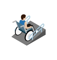 Man sitting on wheelchair on the ramp icon vector