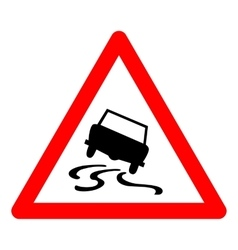 Triangle traffic sign for slippery road vector