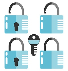 Closed and opened combination locks key flat vector