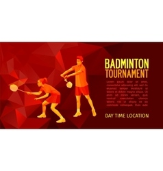 Badminton players mixed doubles team vector