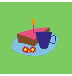Birthday cake and tea vector image vector image