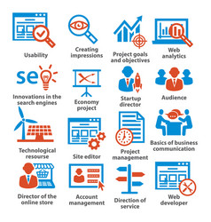 Business management icons pack 07 vector