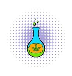 Chemical test tube with marijuana leaf icon vector
