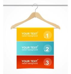 Coat hanger wood like text headers vector