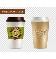 Coffee plastic covers transparent set vector