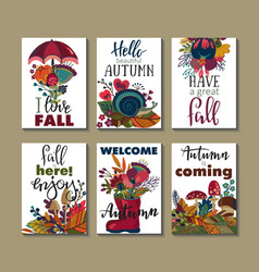 Collection of autumn cards vector