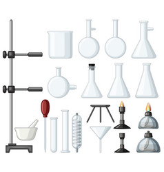 different types of science containers and burners vector image vector image