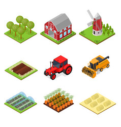 Farm color icons set isometric view vector