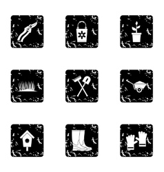 Farming icons set grunge style vector image