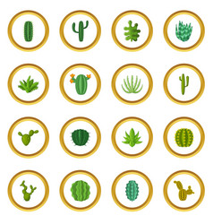 Green cactuses icons circle vector