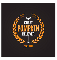halloween pumpkin believer logo concept background vector image vector image