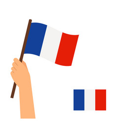 hand holding flag of france vector image vector image
