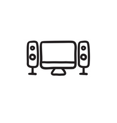 Home cinema system sketch icon vector