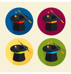 magic hat icon set vector image vector image
