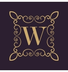 Monogram letter W Calligraphic ornament Gold vector image