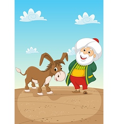 Old Man and Donkey vector image vector image