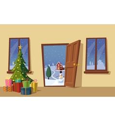 Open door Christmas tree Cartoon vector image