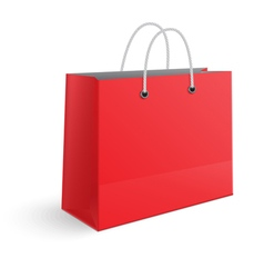 Red paper shopping bag isolated vector