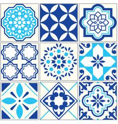 Tiles blue pattern lisbon floral mosaic vector