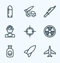 Warfare outline icons set collection of rocket vector