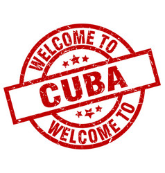 Welcome to cuba red stamp vector