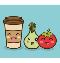 Cartoon onion tomato and cup coffee design vector