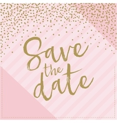 Save the date hand drawn with confetti pink and vector