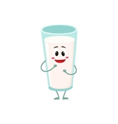 Funny milk glass character with a shy smile vector image