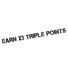 Earn x3 triple points rubber stamp vector