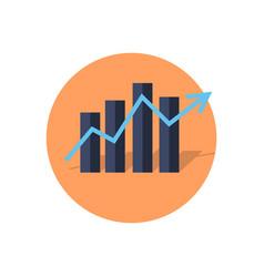 Bar or column graphs diagram with rising arrow vector
