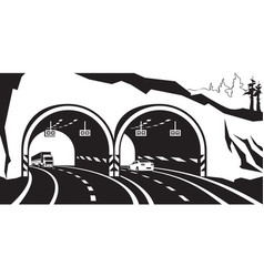 Highway tunnel in the mountains vector