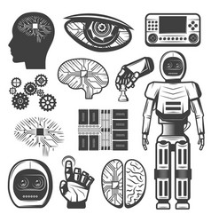 vintage artificial intelligence icons set vector image
