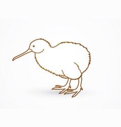 kiwi bird cartoon outline stroke graphic vector image