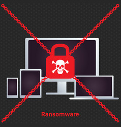 Ransomware ransom ware on a laptop flat icon for vector