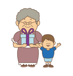 grandma and her grandson standing happy with gift vector image