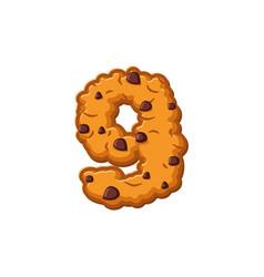 Number 9 cookies font oatmeal biscuit alphabet vector