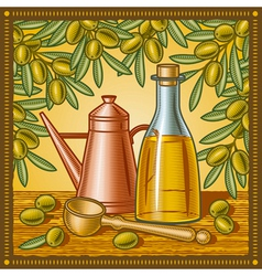 Retro olive oil still life vector