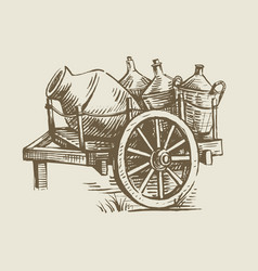 Cart with wine vector