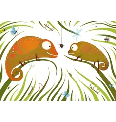 Two childish colorful lizards with insects in vector