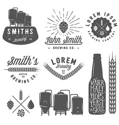 Vintage craft brewery emblems labels and logos vector image
