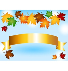 Maple leaves border with gold ribbon and sky vector