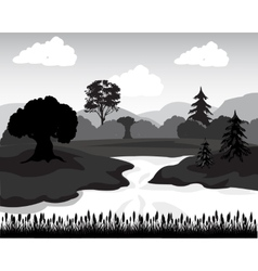 Landscape in sulphur white tone vector